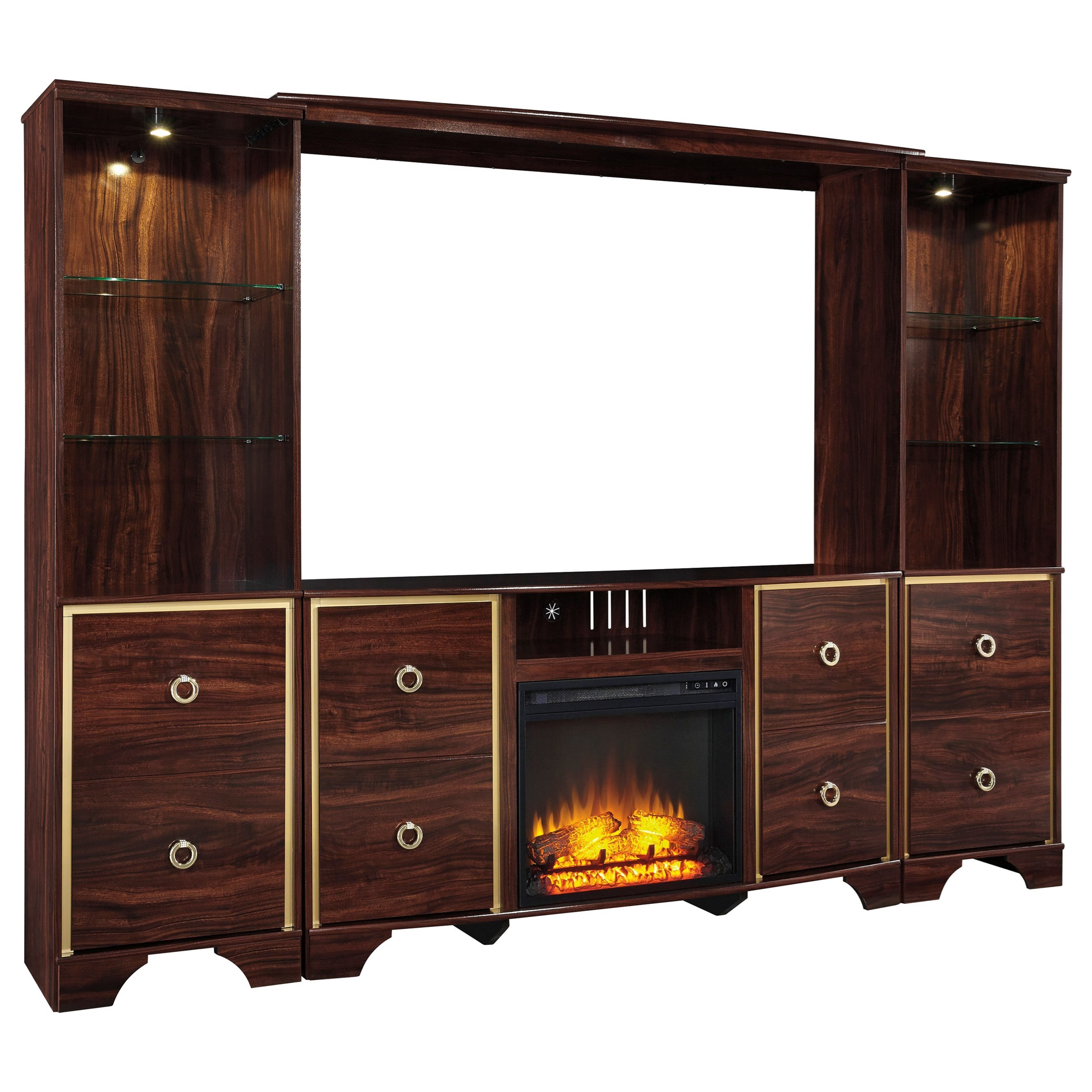 Signature Design By Ashley Furniture Lenmara Glam Entertainment Center With Fireplace Insert