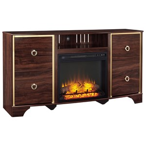 Signature Design by Ashley Lenmara TV Stand with Fireplace Insert