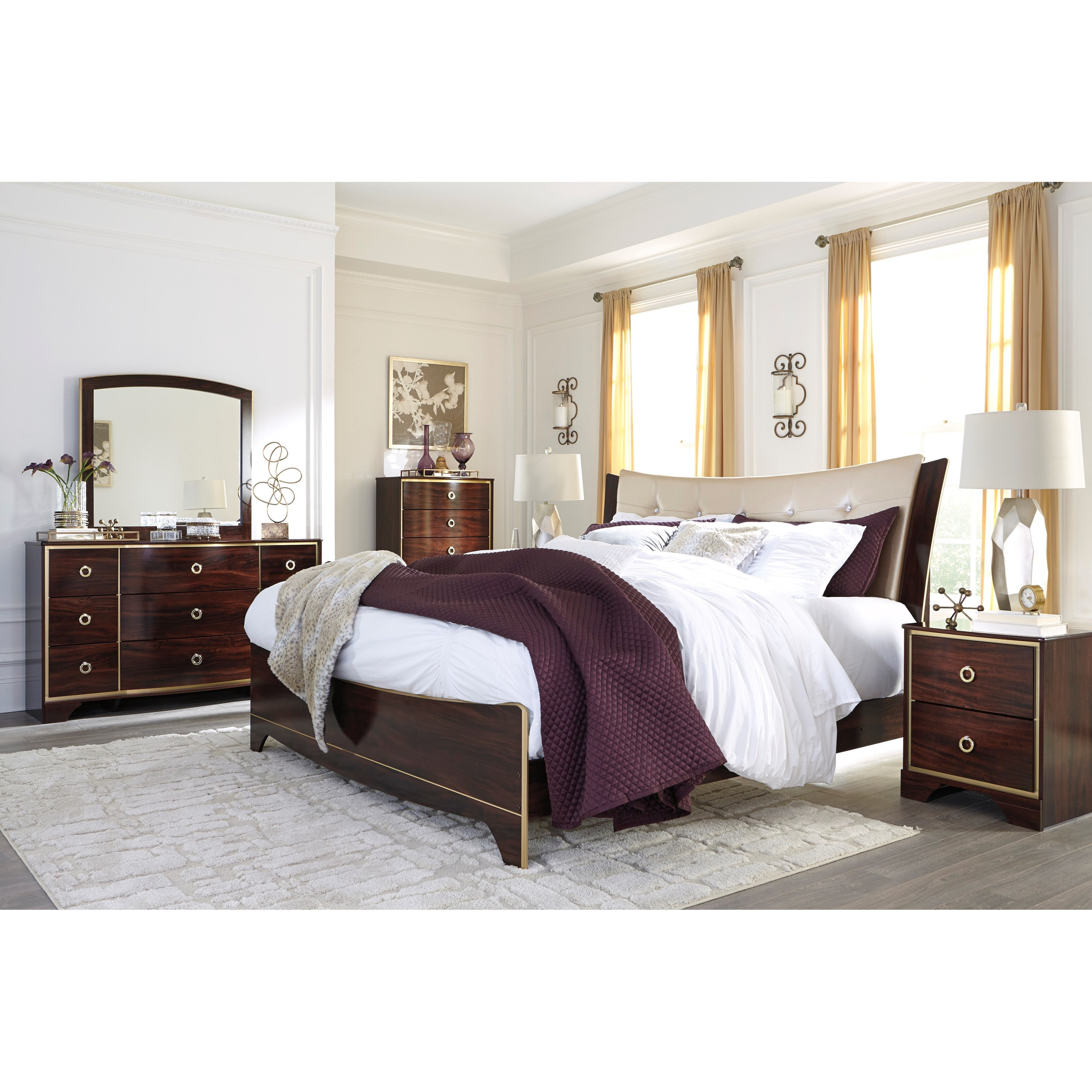 Signature Design By Ashley Lenmara King Upholstered Bed With Gold Faux Leather Household