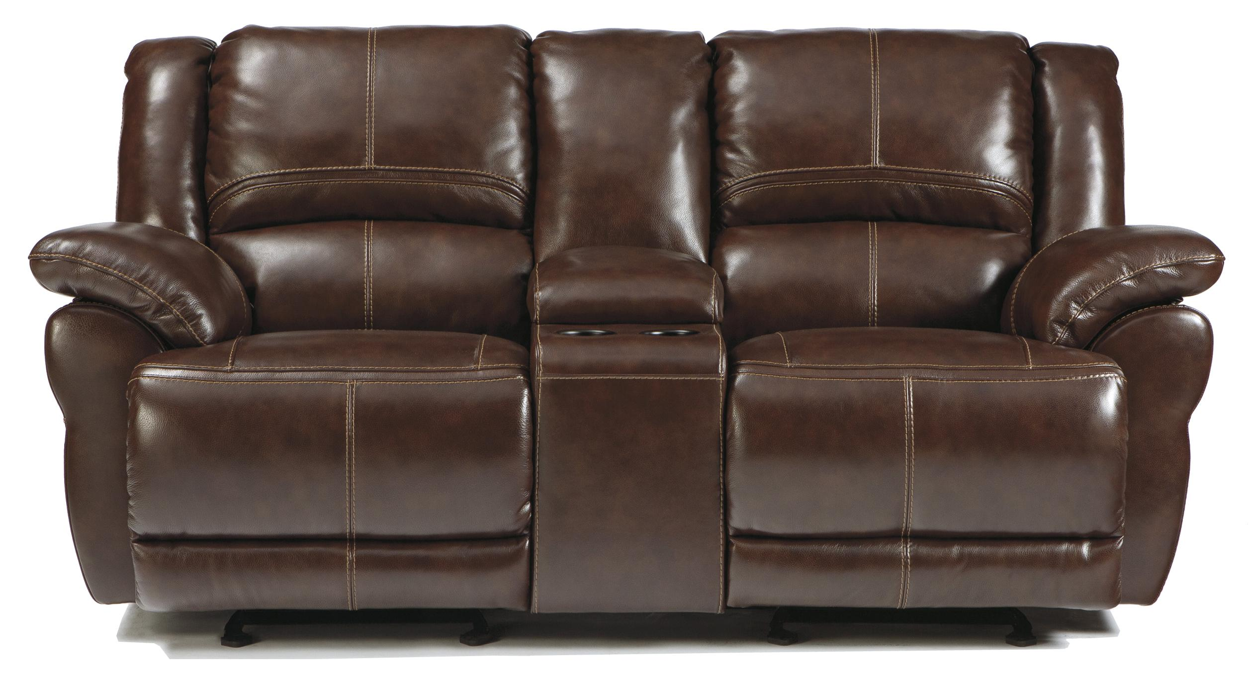 Signature Design by Ashley Lenoris - Coffee Glider Reclining Loveseat w/ Console - Item Number: U9890143