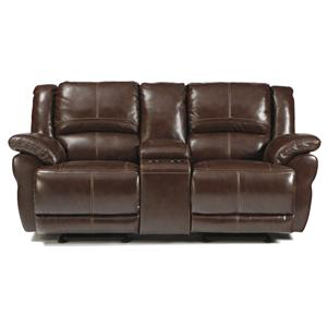 Signature Design by Ashley Lenoris - Coffee Glider Reclining Power Loveseat w/ Console
