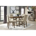 Signature Design by Ashley Lettner Two-Tone Rectangular Dining Room Counter Ext. Table with 2 Shelves