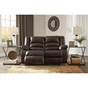 Signature Design by Ashley Levelland Leather Match Reclining Power Loveseat