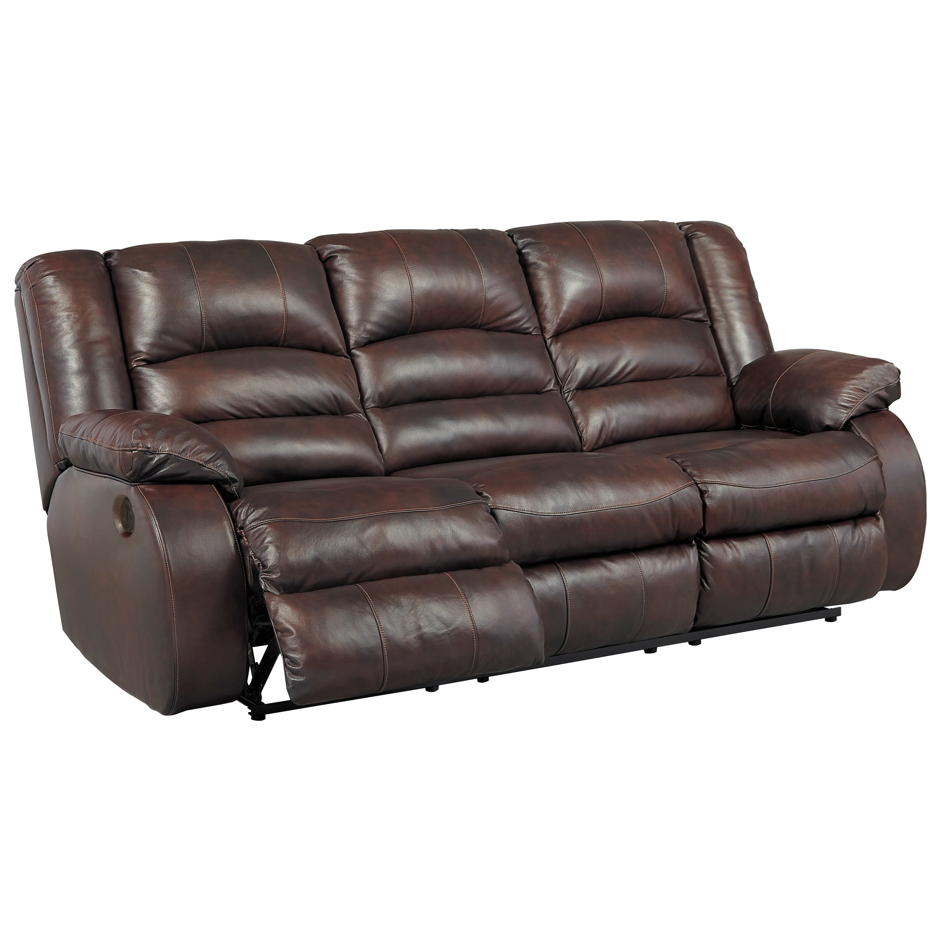 Leather Sectional Sofa With 3 Power Recliners: Ashley Signature Design Levelland 3-Piece Leather Match