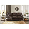 Signature Design by Ashley Levelland Leather Match Reclining Power Sofa