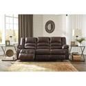 Signature Design by Ashley Levelland Leather Match Reclining Sofa