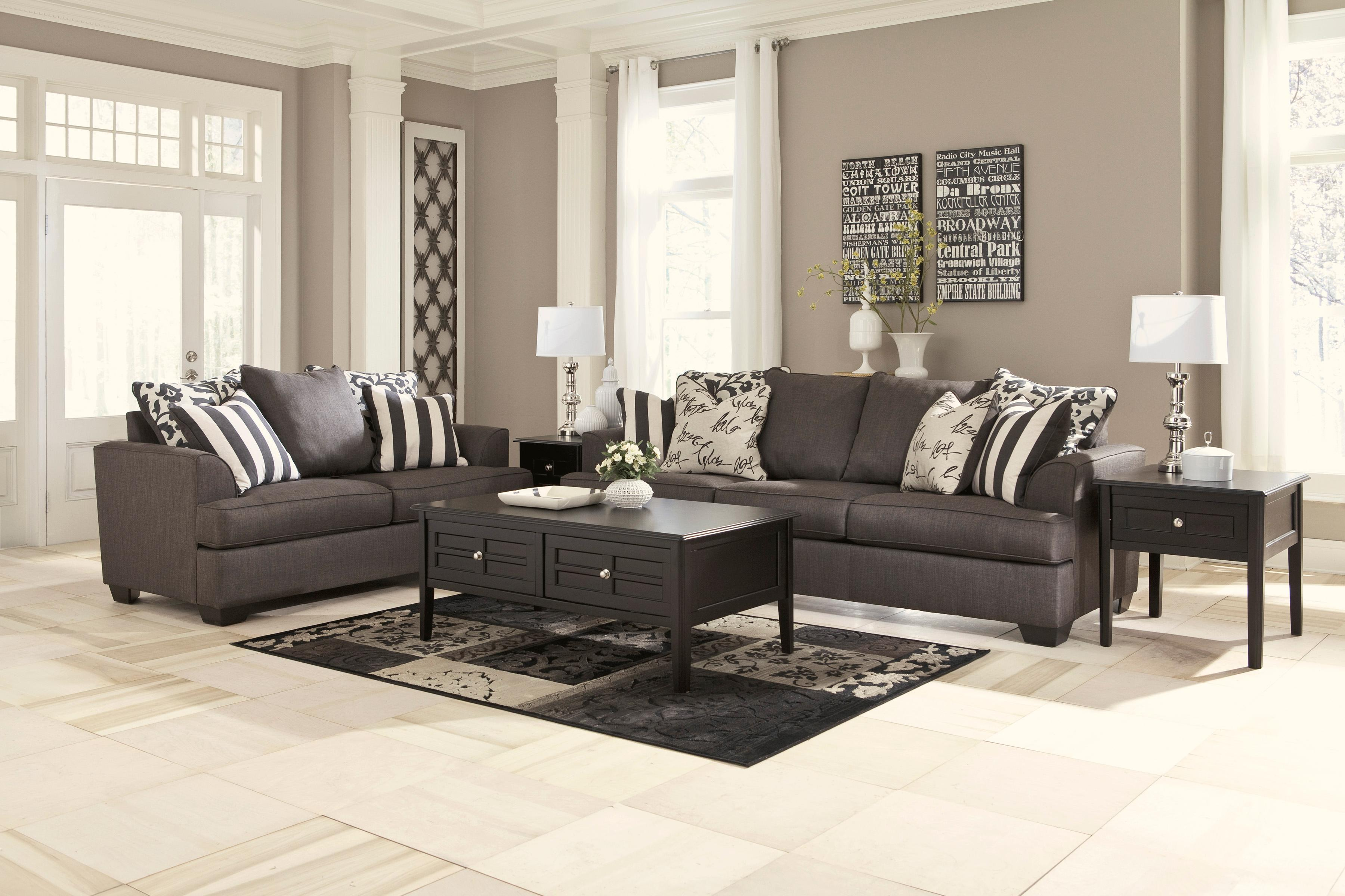 Signature Design by Ashley Levon - Charcoal Stationary Living Room Group - Item Number: 73403 Living Room Group 2