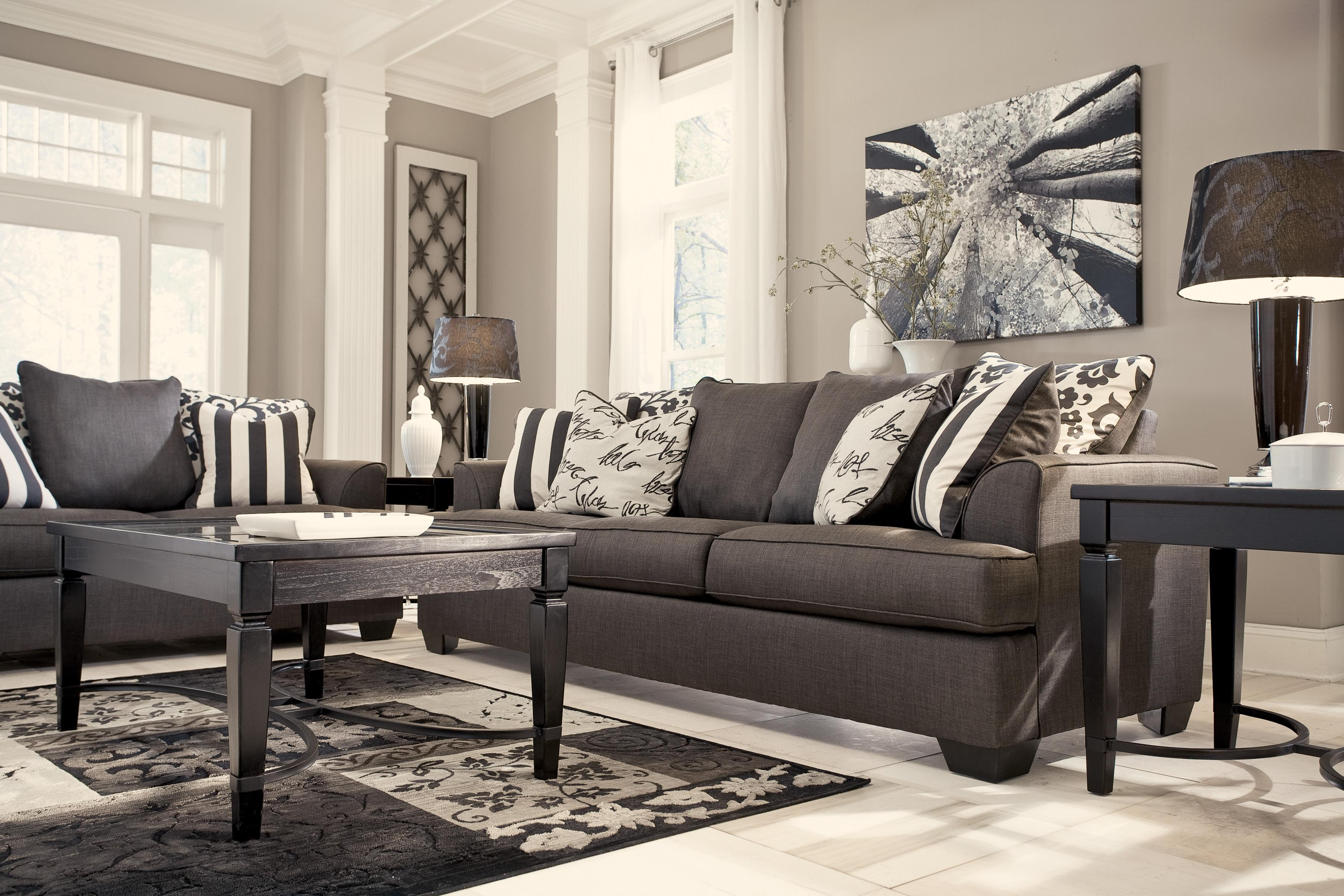 Ashley Signature Design Levon Charcoal Sofa With