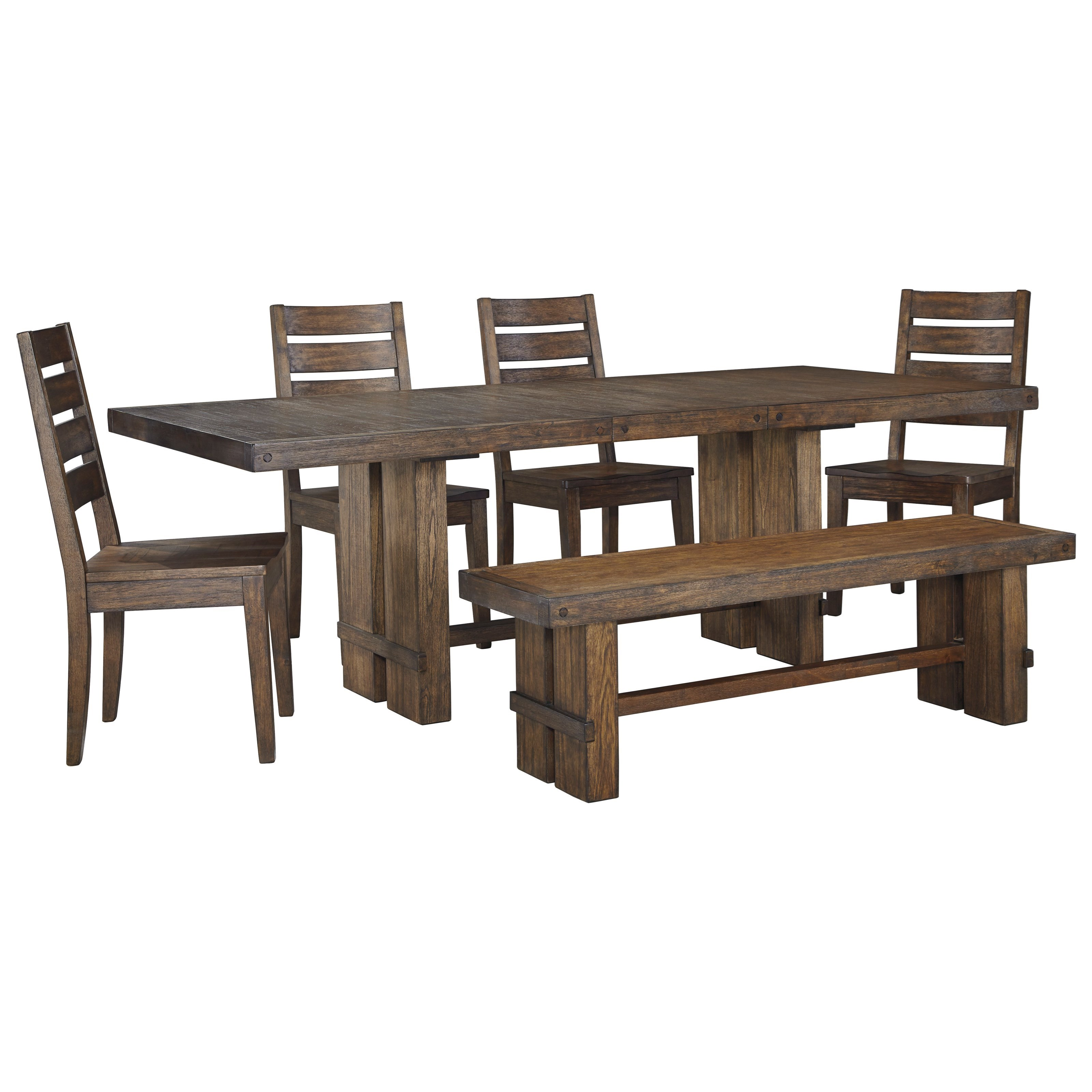 Signature Design by Ashley Leystone Rectangular Table and Chair Set with Bench - Item Number: D614-35+00+4x01