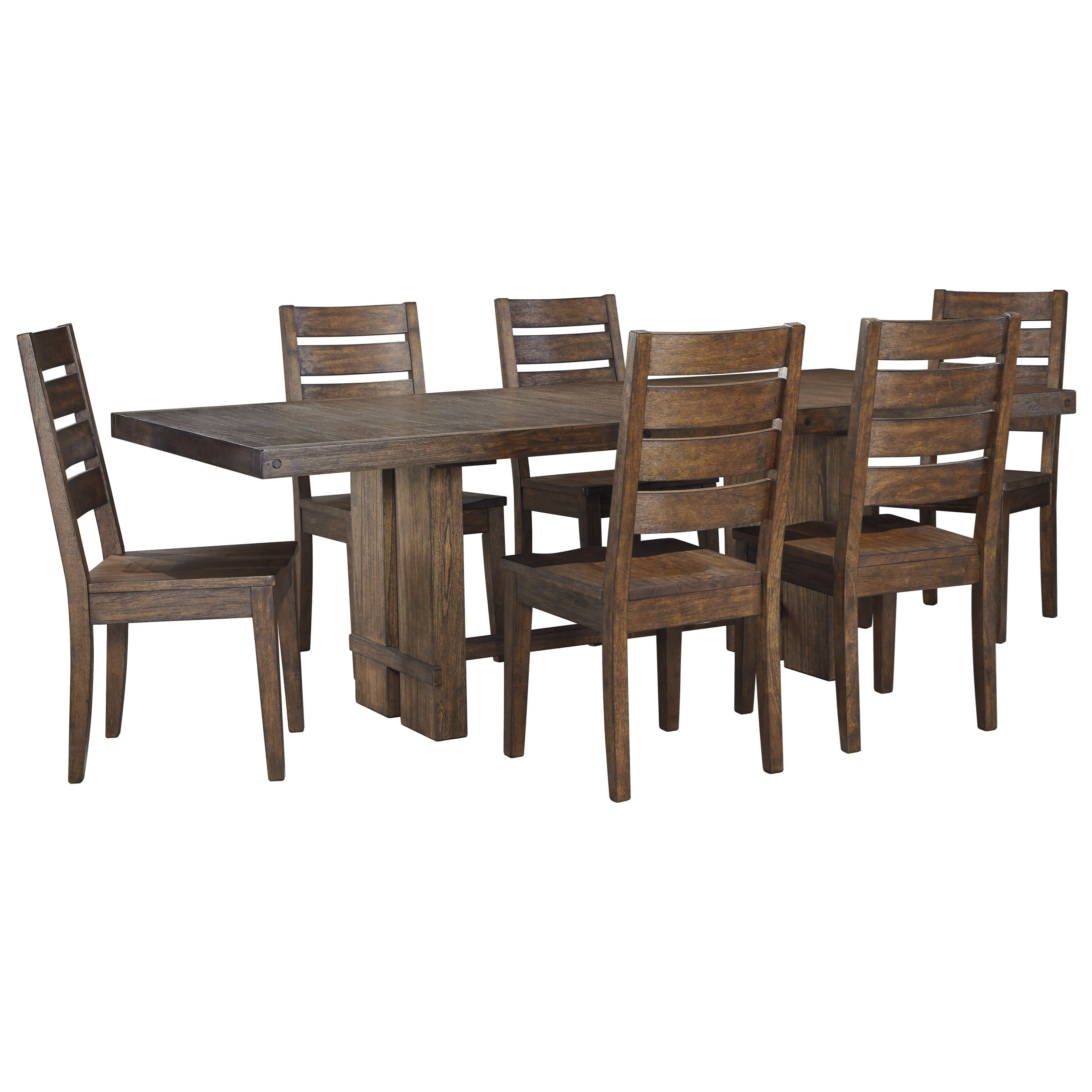 Signature Design by Ashley Leystone 7 Piece Rectangular Table and Chair Set - Item Number: D614-35+6x01