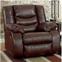 Ashley/Benchcraft Linebacker DuraBlend - Espresso Contemporary Rocker Recliner with Pillow Arms - Recliner Shown May Not Represent Exact Features Indicated