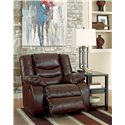 Ashley/Benchcraft Linebacker DuraBlend - Espresso Contemporary Rocker Recliner with Pillow Arms - Shown with Footrest Open