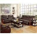 Ashley/Benchcraft Linebacker DuraBlend - Espresso Contemporary Reclining Sofa with Pillow Arms - Shown with Double Reclining Loveseat with Console and Rocker Recliner