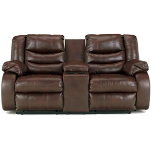 Ashley Linebacker DuraBlend - Espresso DBL Rec Loveseat w/Console