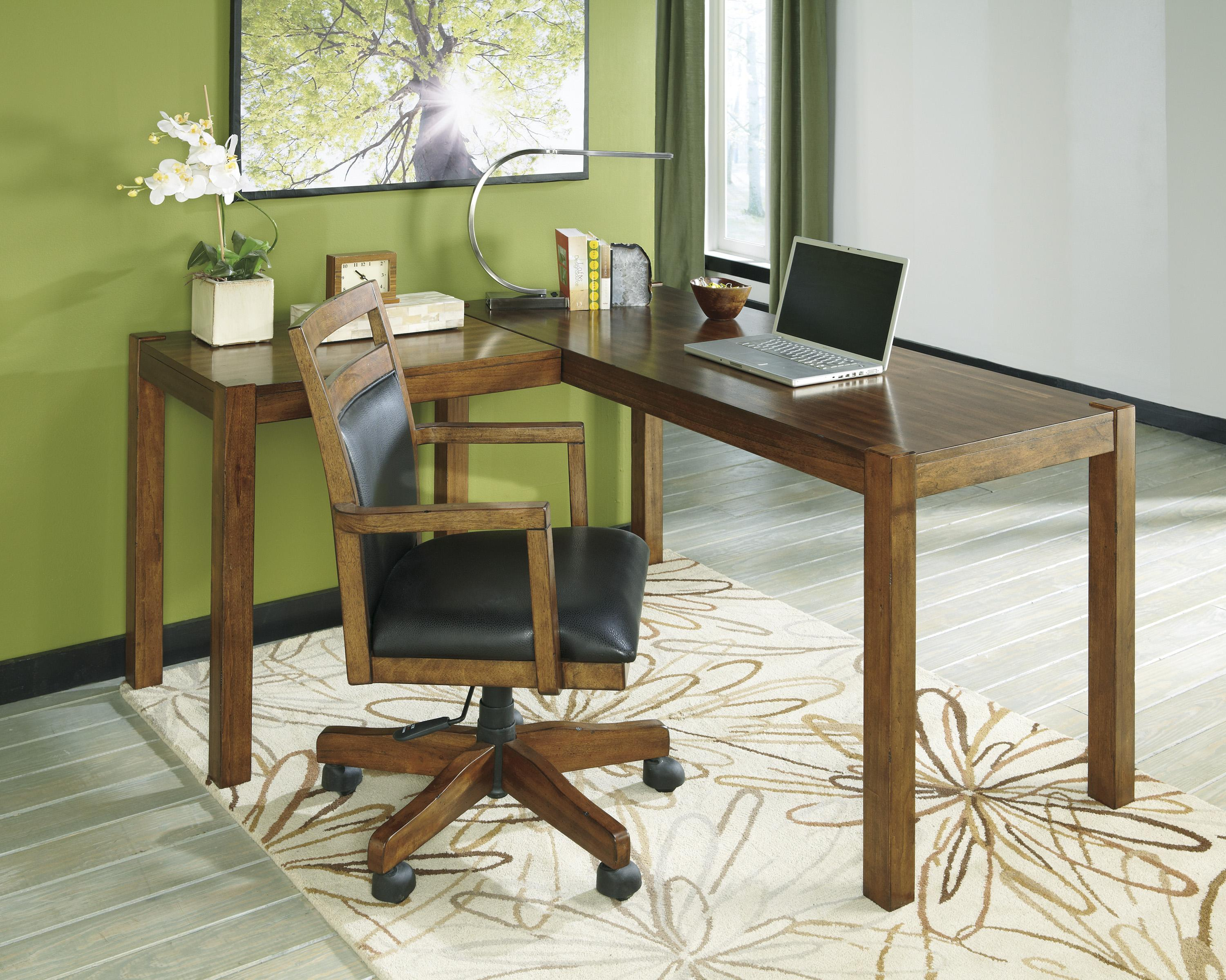 Signature design by ashley lobink h641 01a home office desk chair with cutout detail becker - Ashley furniture office desk ...