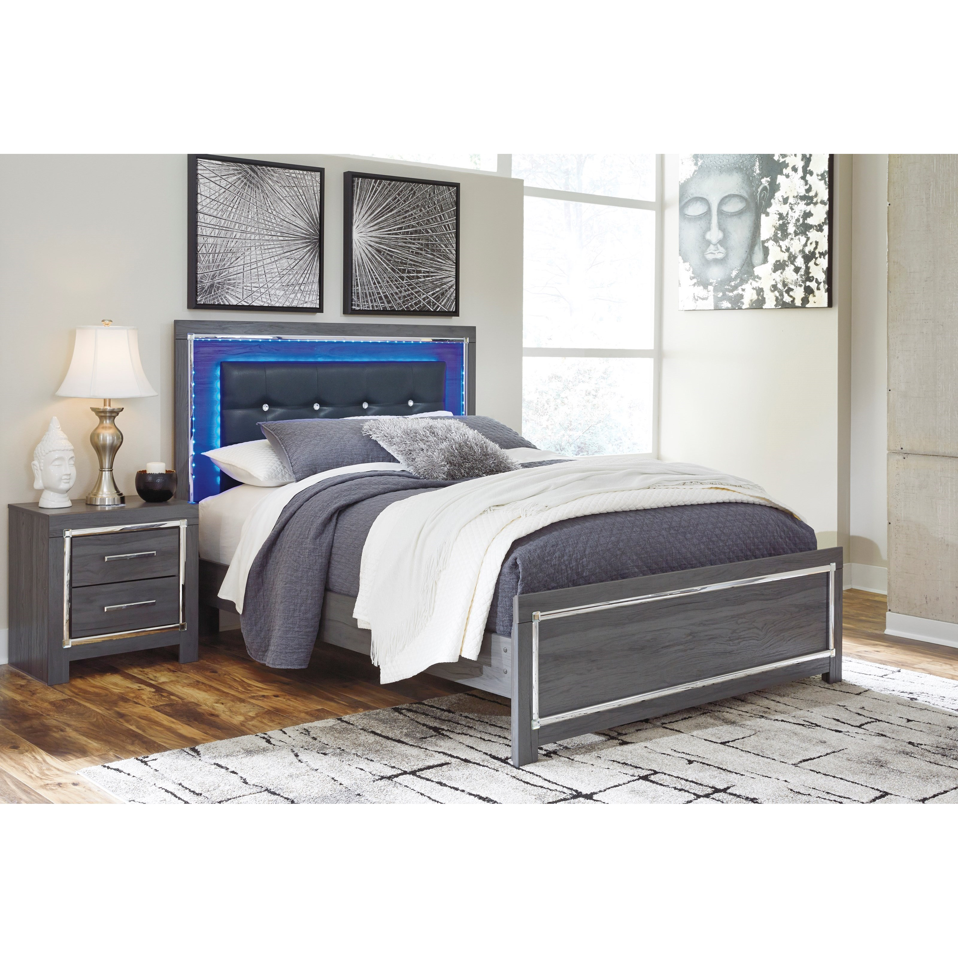 Signature Design By Ashley Lodana Glam Full Upholstered Bed With Color Changing Led Lighting
