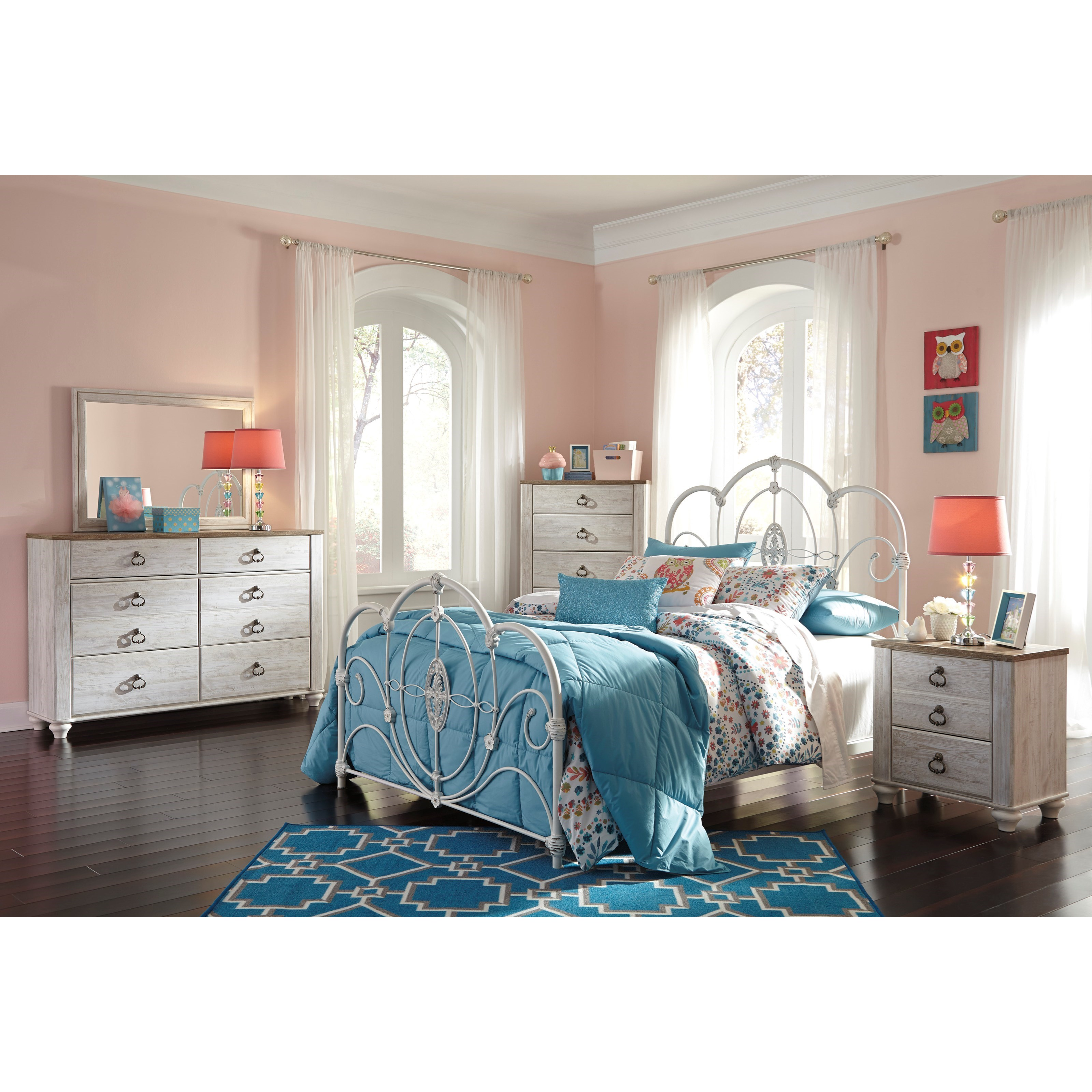 Signature Design By Ashley Loriday Twin Metal Bed With Decorative Scrolled Metal Embellishments