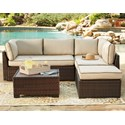 Signature Design by Ashley Loughran Outdoor Sectional Set with Cocktail Table - Item Number: P300-070