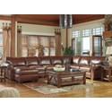 Signature Design by Ashley Lugoro 5-Piece Sectional with Left Chaise - Item Number: 5060216+46+34+77+56