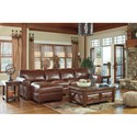 Signature Design by Ashley Lugoro Leather Match 3-Piece Sectional with Left Chaise