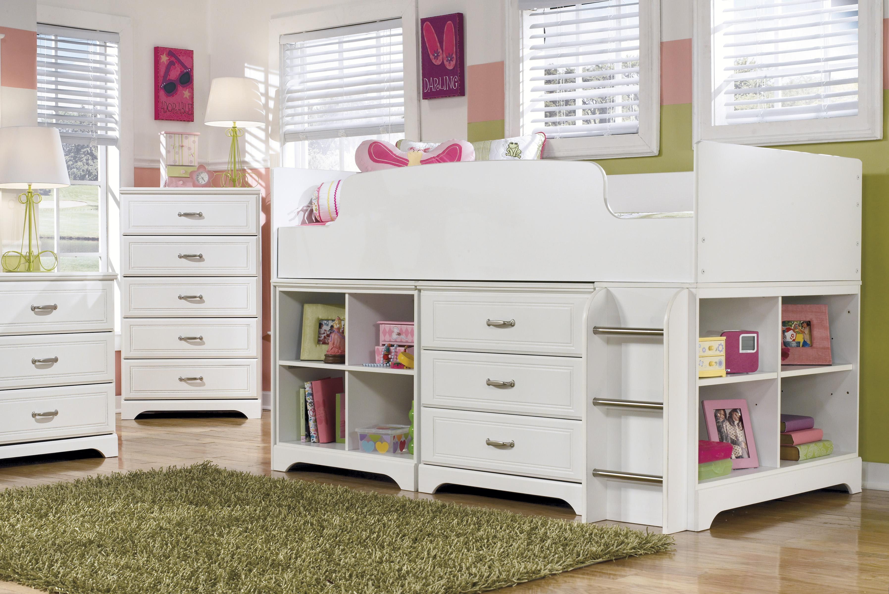 Ashley Signature Design Lulu Twin Loft Bed W Loft Bin Amp Drawer Storage Dunk Amp Bright