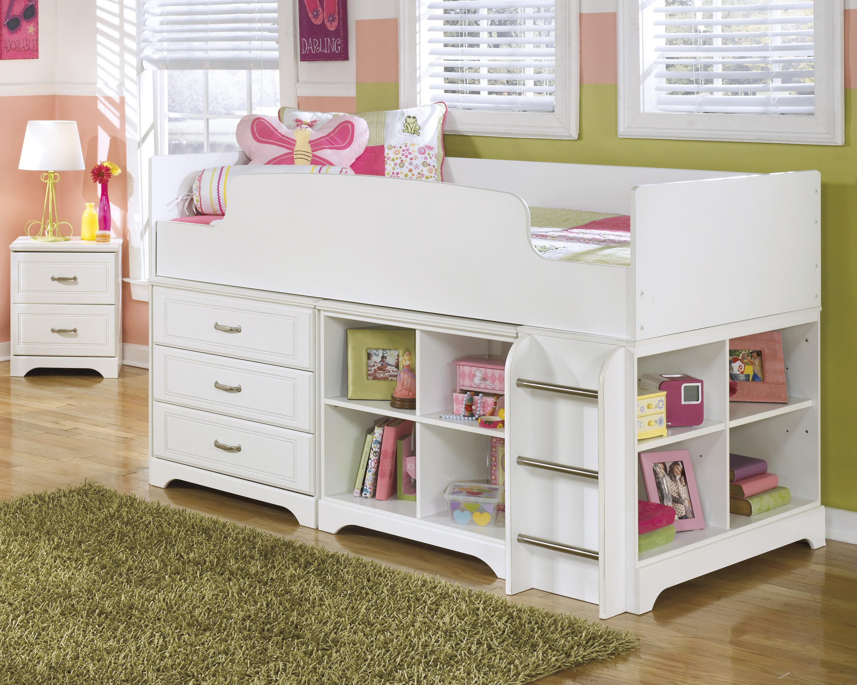 Ashley Signature Design Lulu Twin Loft Bed W Loft Drawer Amp Bin Storage Dunk Amp Bright