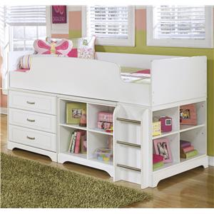 Signature Design by Ashley Lulu Twin Loft Bed w/ Loft Drawer & Bin Storage
