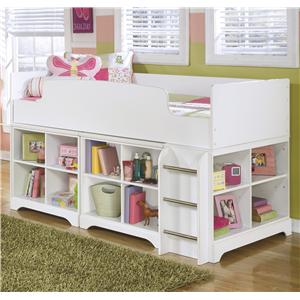 Signature Design by Ashley Lulu Twin Loft Bed with Loft Bin Storage