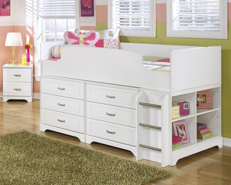 Signature Design By Ashley Lulu Twin Loft Bed W Loft Drawer Storage Becker Furniture World