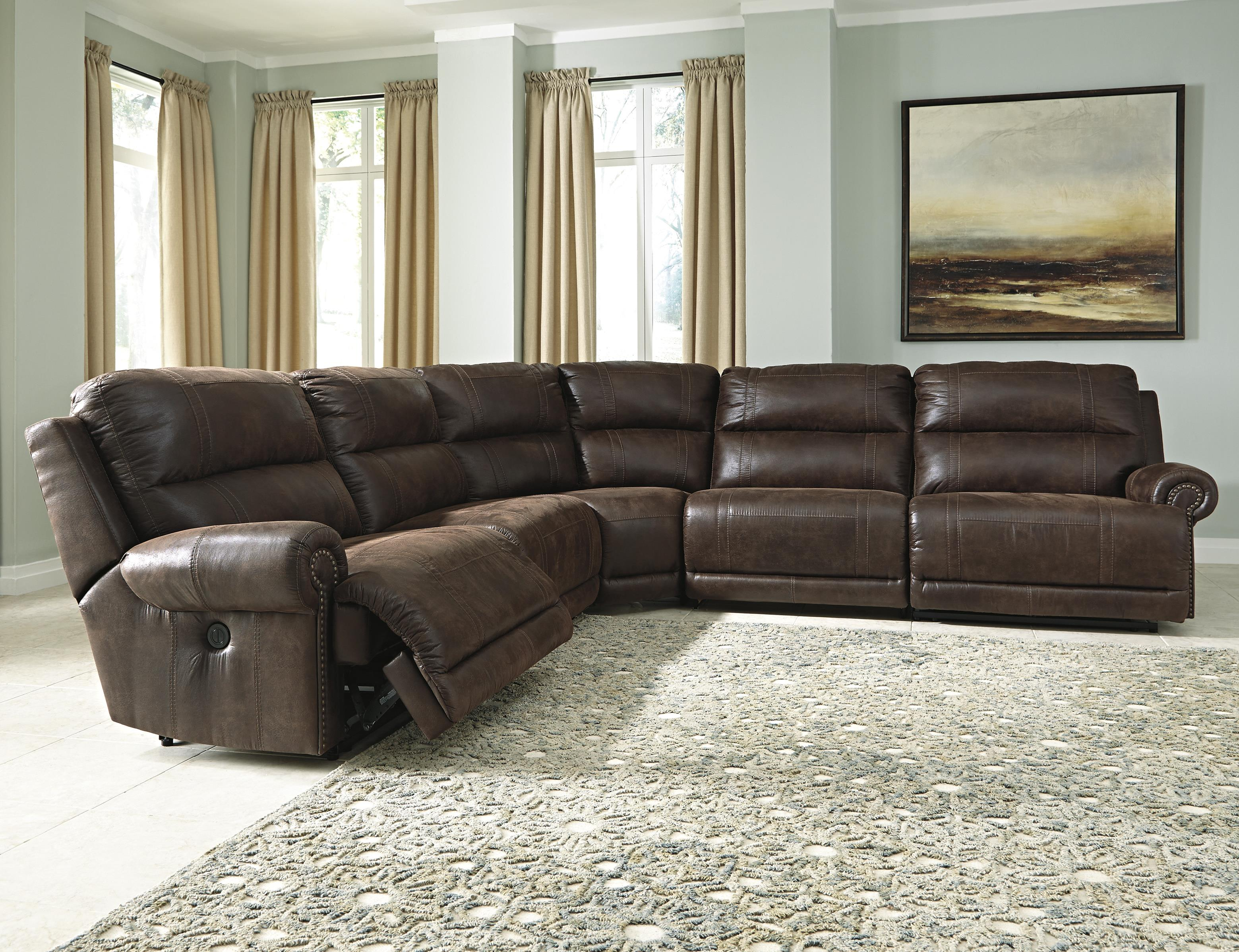 Signature Design by Ashley Luttrell 5-Piece Reclining Sectional - Item Number: 9310140+2x46+77+41