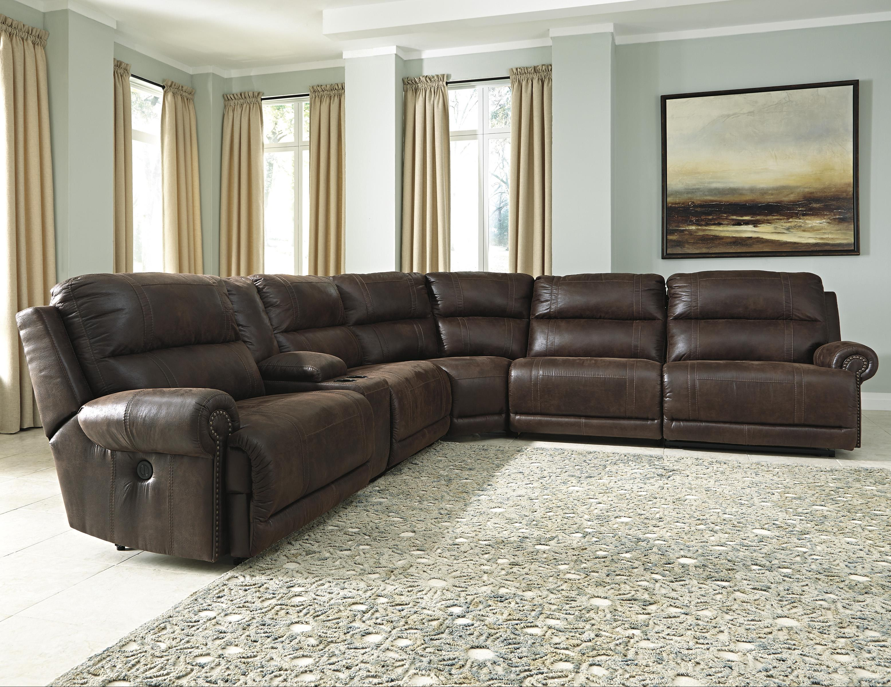 Signature Design by Ashley Luttrell 6Pc Sectional w/ Console & Armless Recliners - Item Number: 9310140+57+2x19+77+41