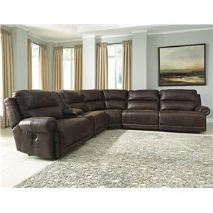 Benchcraft Luttrell 6Pc Sectional w/ Console & Armless Recliners