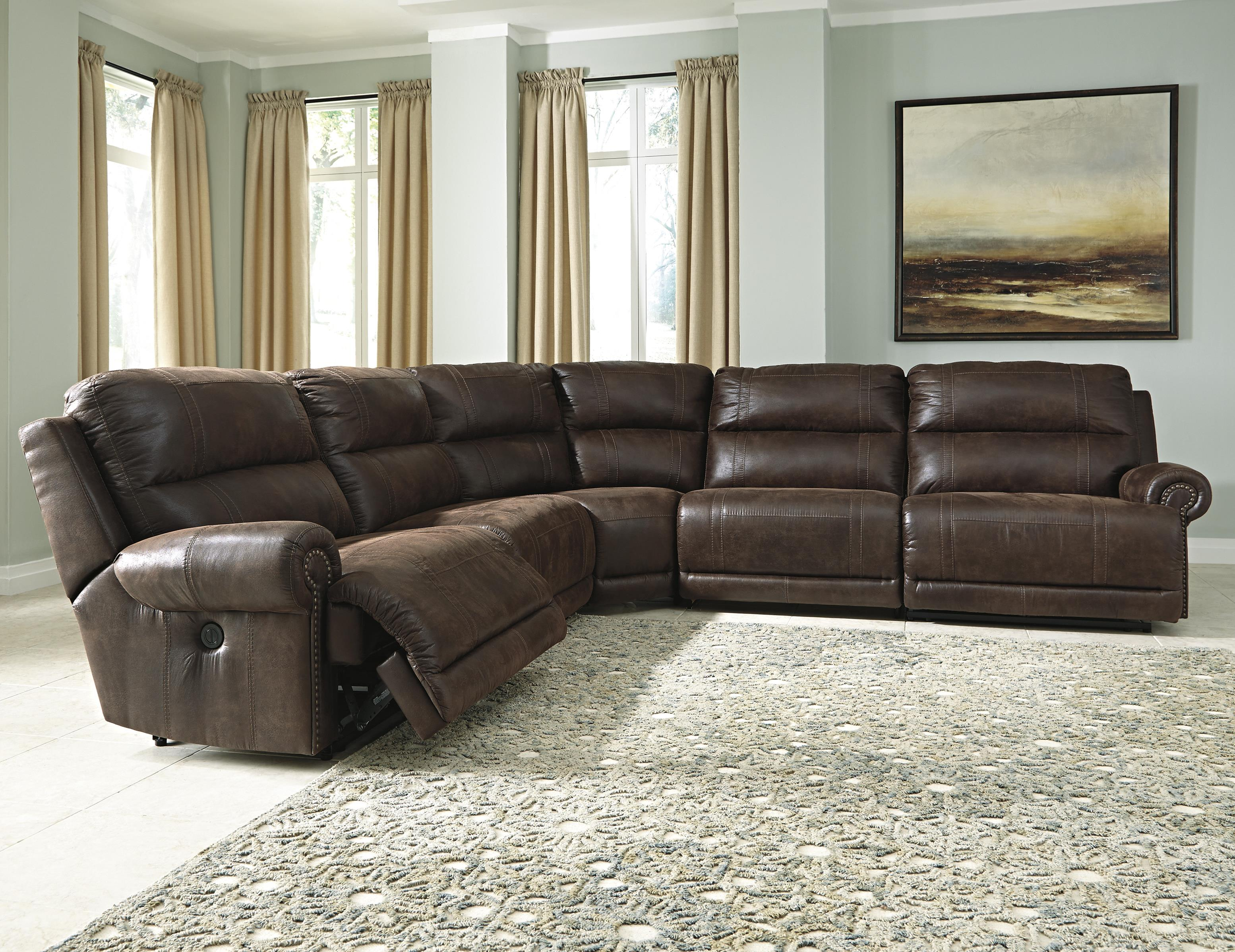 Signature Design by Ashley Luttrell 5-Piece Power Reclining Sectional - Item Number: 9310158+2x46+77+62