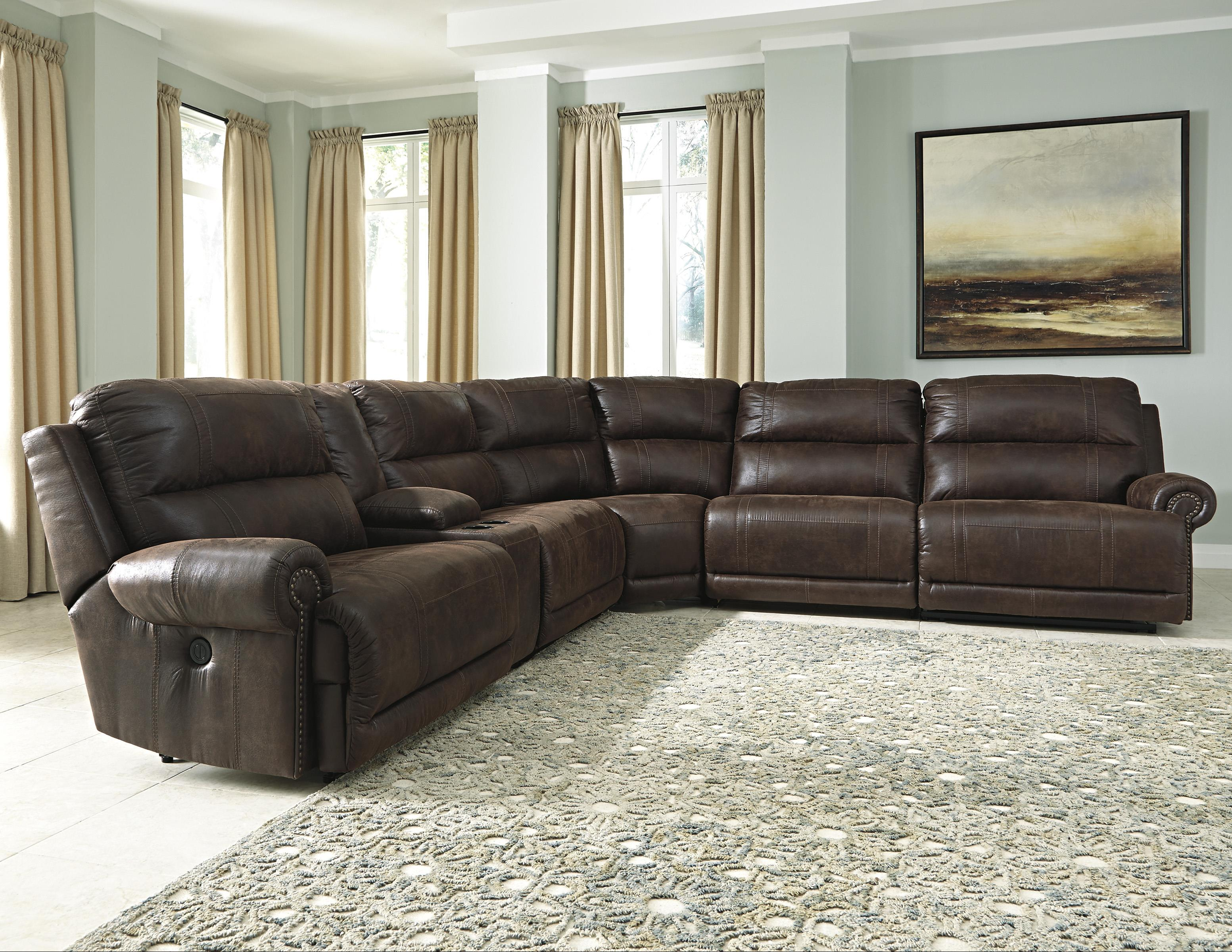 Signature Design by Ashley Luttrell 6Pc Power Reclining Sectional with Console - Item Number: 9310158+57+19+77+46+62