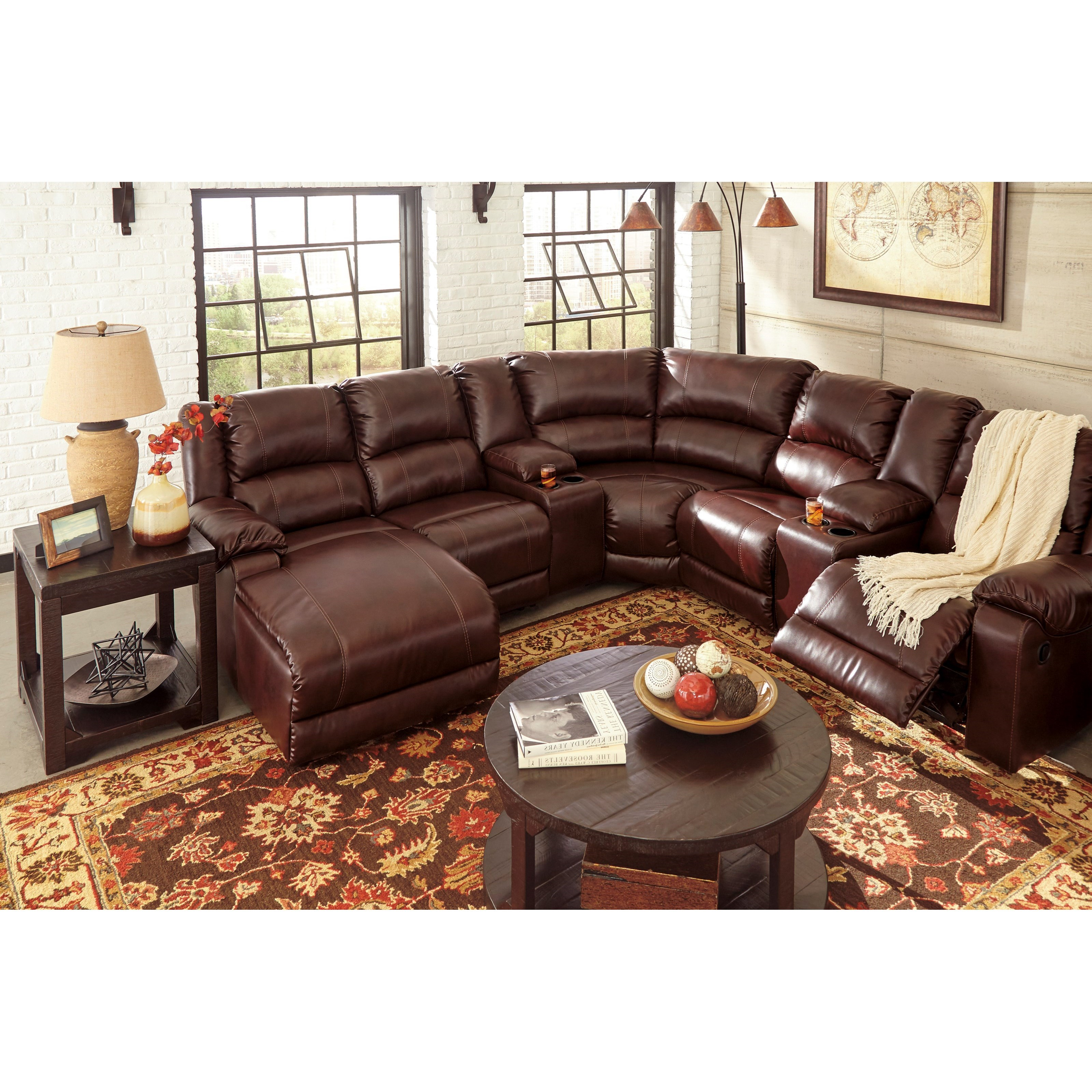 Ashley signature design macgrath durablend reclining for Ashley reclining sectional with chaise