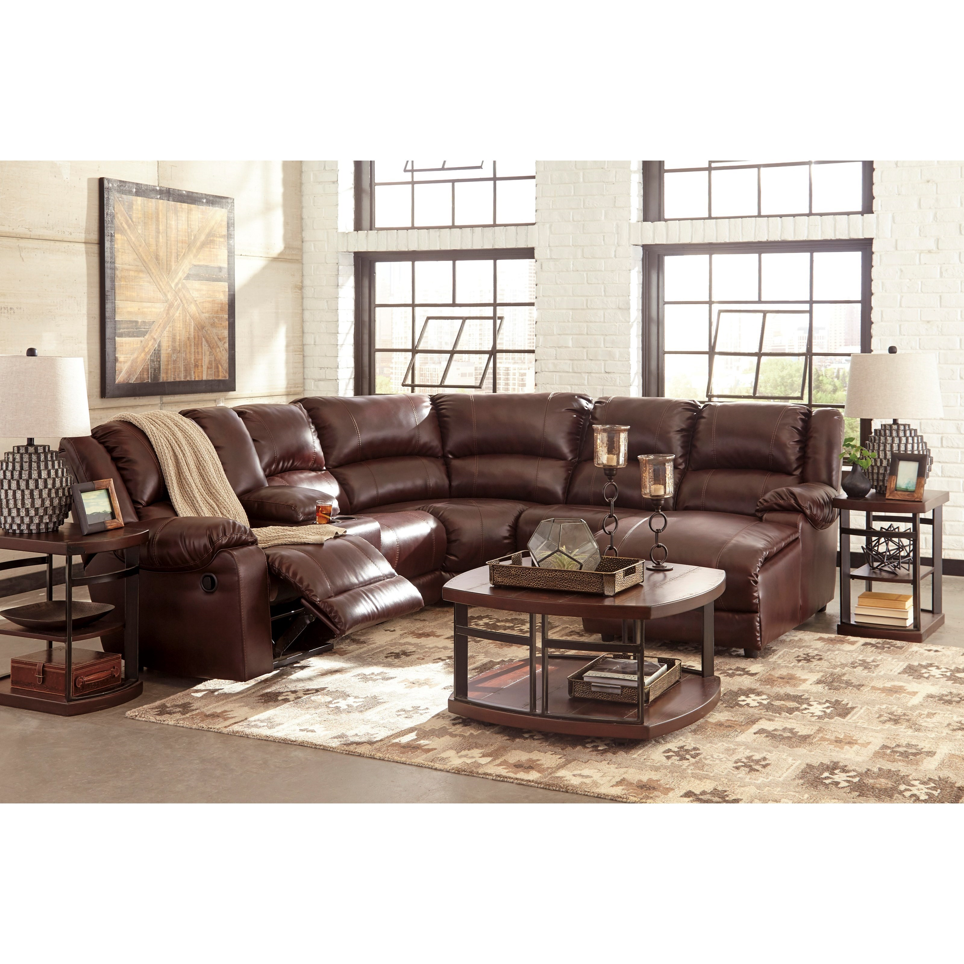 signature design by ashley macgrath durablend reclining sectional with chaise zak 39 s fine