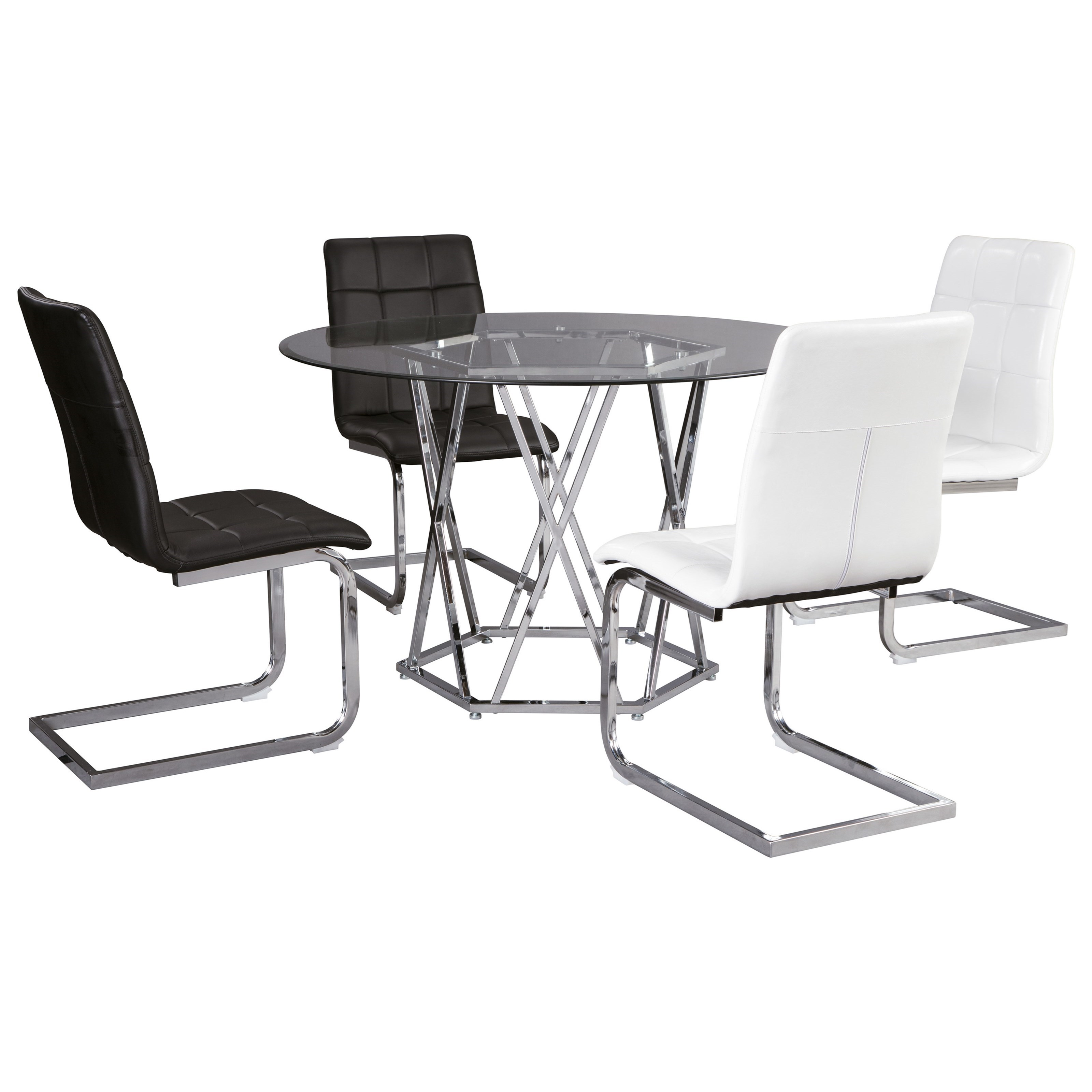Signature Design By Ashley Madanere Contemporary 5 Piece Dining Set With Glass Top Royal Furniture Dining 5 Piece Sets