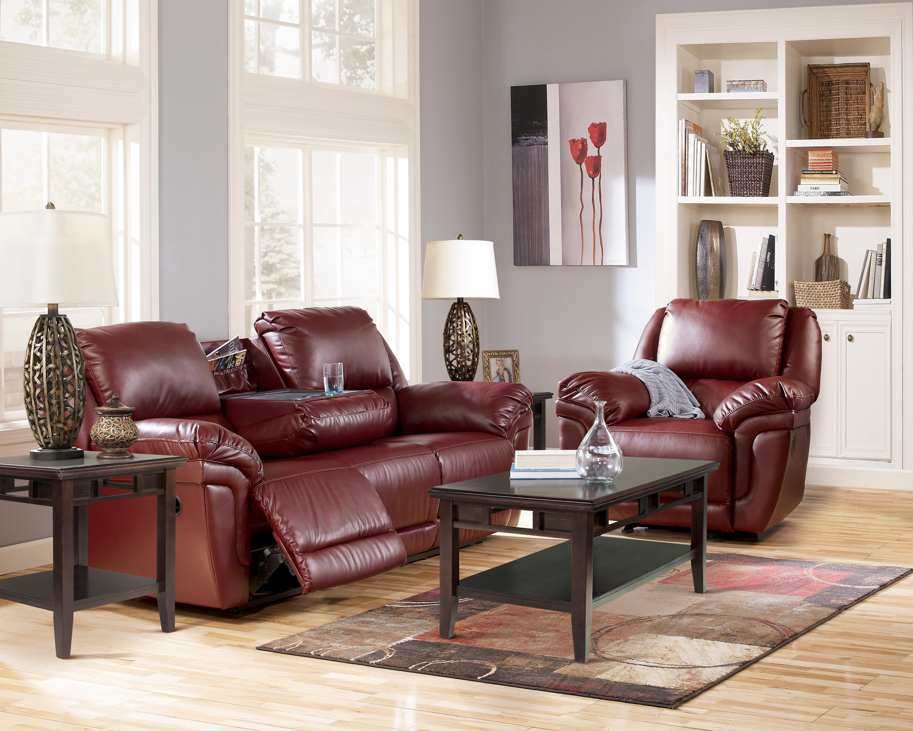 Signature Design by Ashley Magician DuraBlend - Garnet Reclining Living Room Group - Item Number: 76100 Living Room Group 3