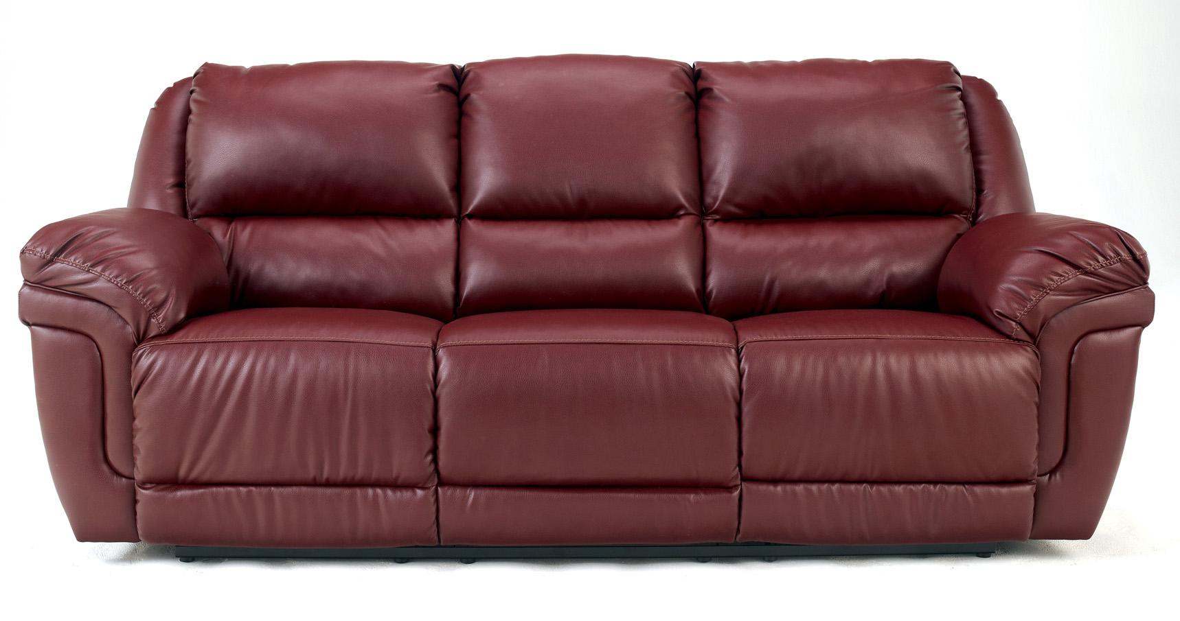 Signature Design by Ashley Magician DuraBlend - Garnet Reclining Sofa w/ Drop Down Table & Massage - Item Number: 7610089