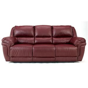 Signature Design by Ashley Magician DuraBlend - Garnet Reclining Sofa w/ Drop Down Table & Massage