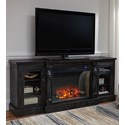 Signature Design by Ashley Mallacar XL TV Stand with Electric Fireplace Insert - Item Number: W880-68+W100-21