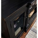 Signature Design by Ashley Mallacar Rustic Black Finish XL TV Stand with Turned Pilasters