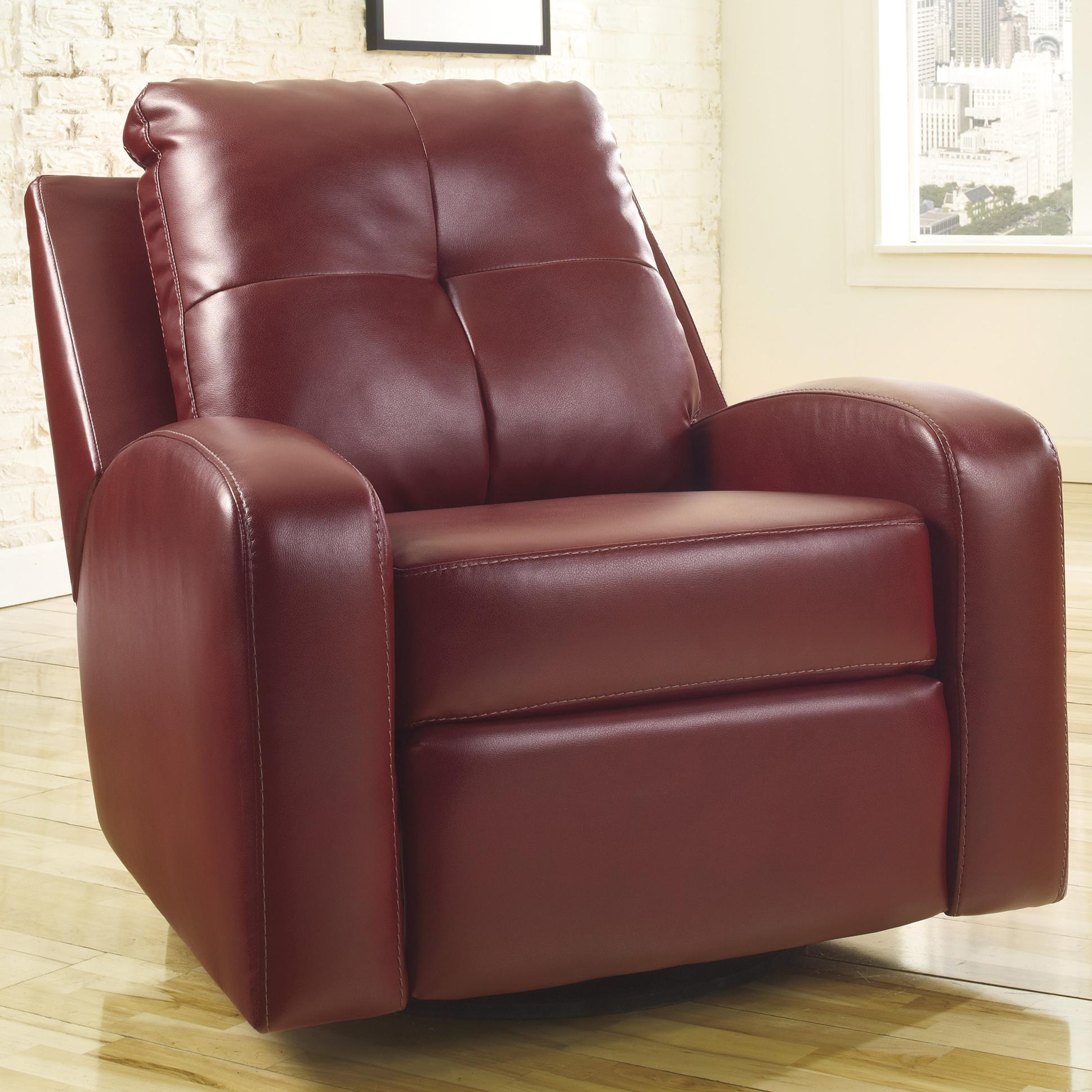 Signature Design by Ashley Mannix DuraBlend - Red Swivel Glider Recliner - Item Number: 2140261