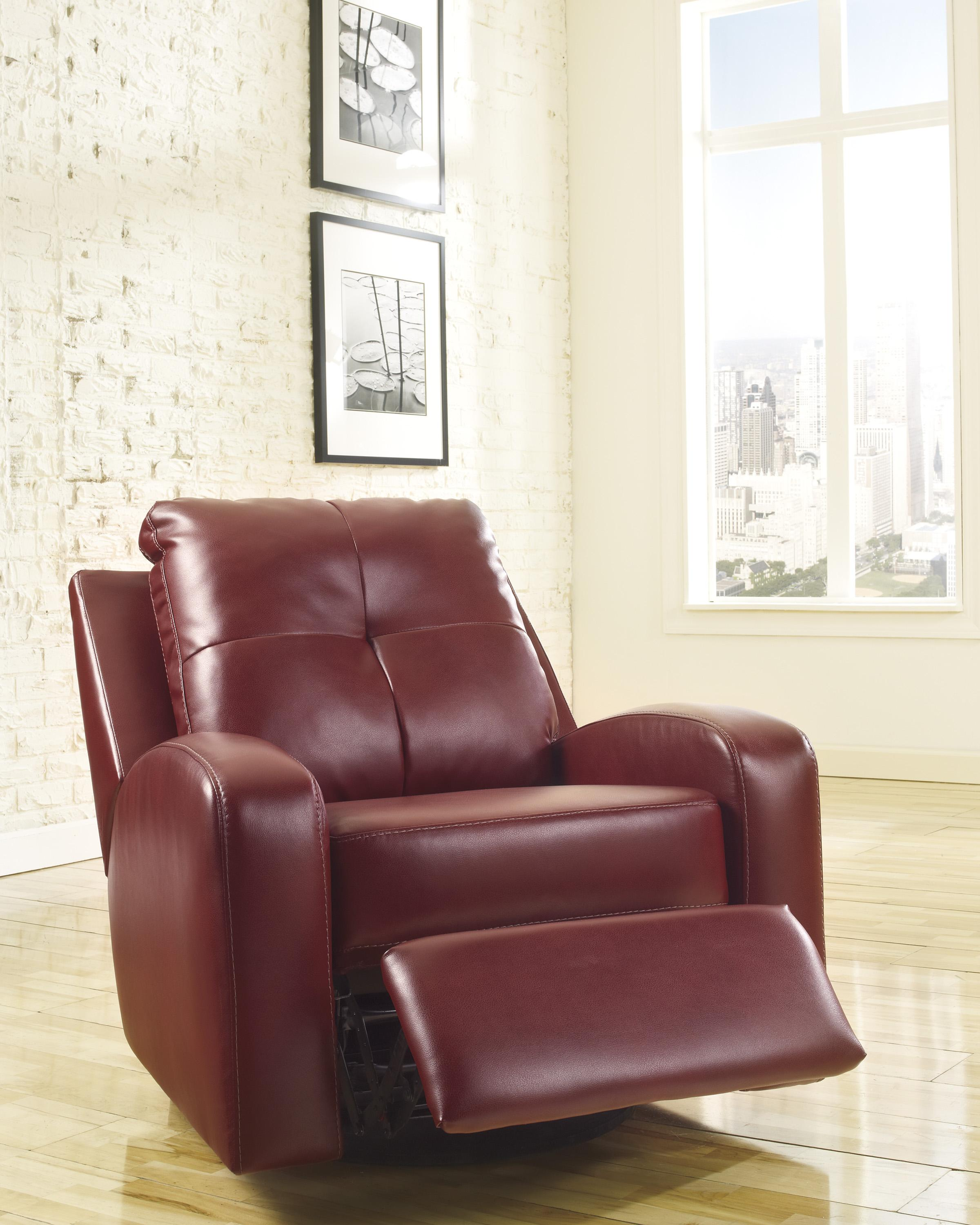 Signature Design By Ashley Mannix Durablend Red 2140261 Contemporary Swivel Glider Recliner