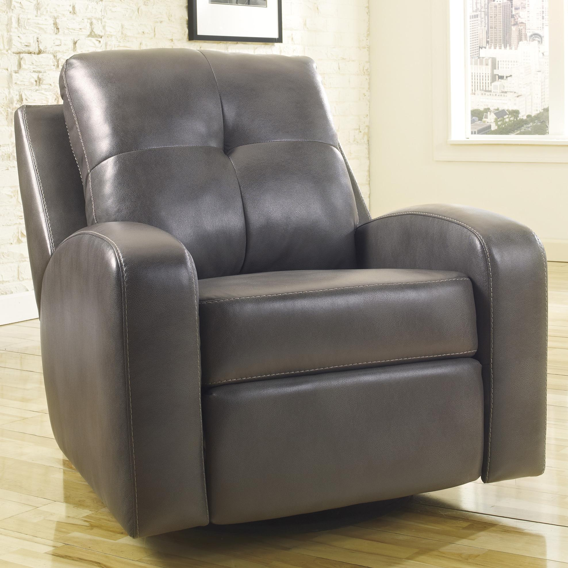 Signature Design by Ashley Mannix DuraBlend - Gray Swivel Glider Recliner - Item Number: 2140461