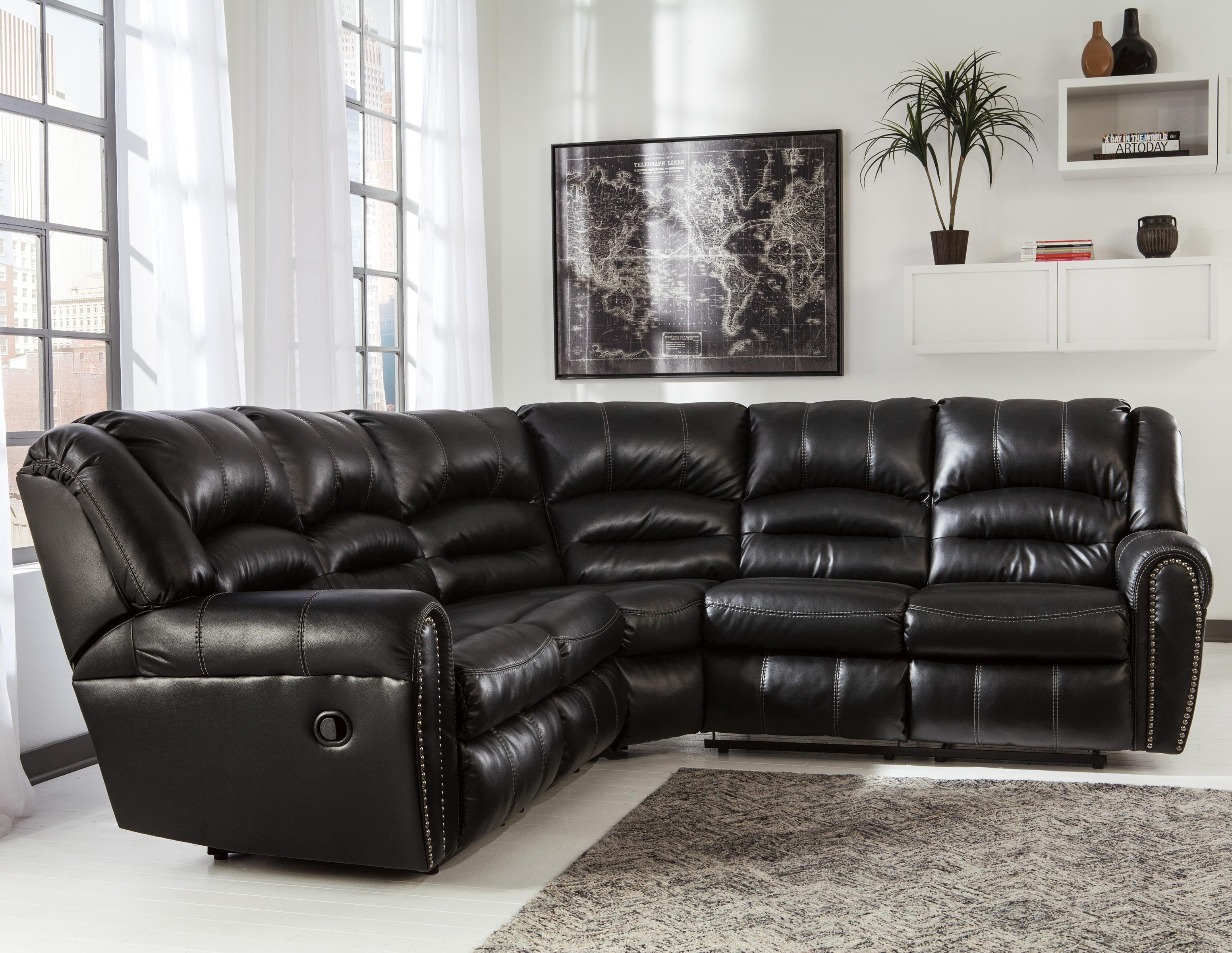 Signature Design By Ashley Manzanola Reclining Sectional With Nailhead Trim Michael 39 S