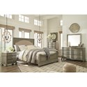 Signature Design by Ashley Marleny Cottage Style King Upholstered Panel Bed in Rustic Gray Finish