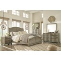 Signature Design by Ashley Marleny Cottage Style King Sleigh Bed in Rustic Gray Finish
