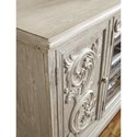 Signature Design by Ashley Marleny Extra Large TV Stand in Gray Finish with Carved Doors