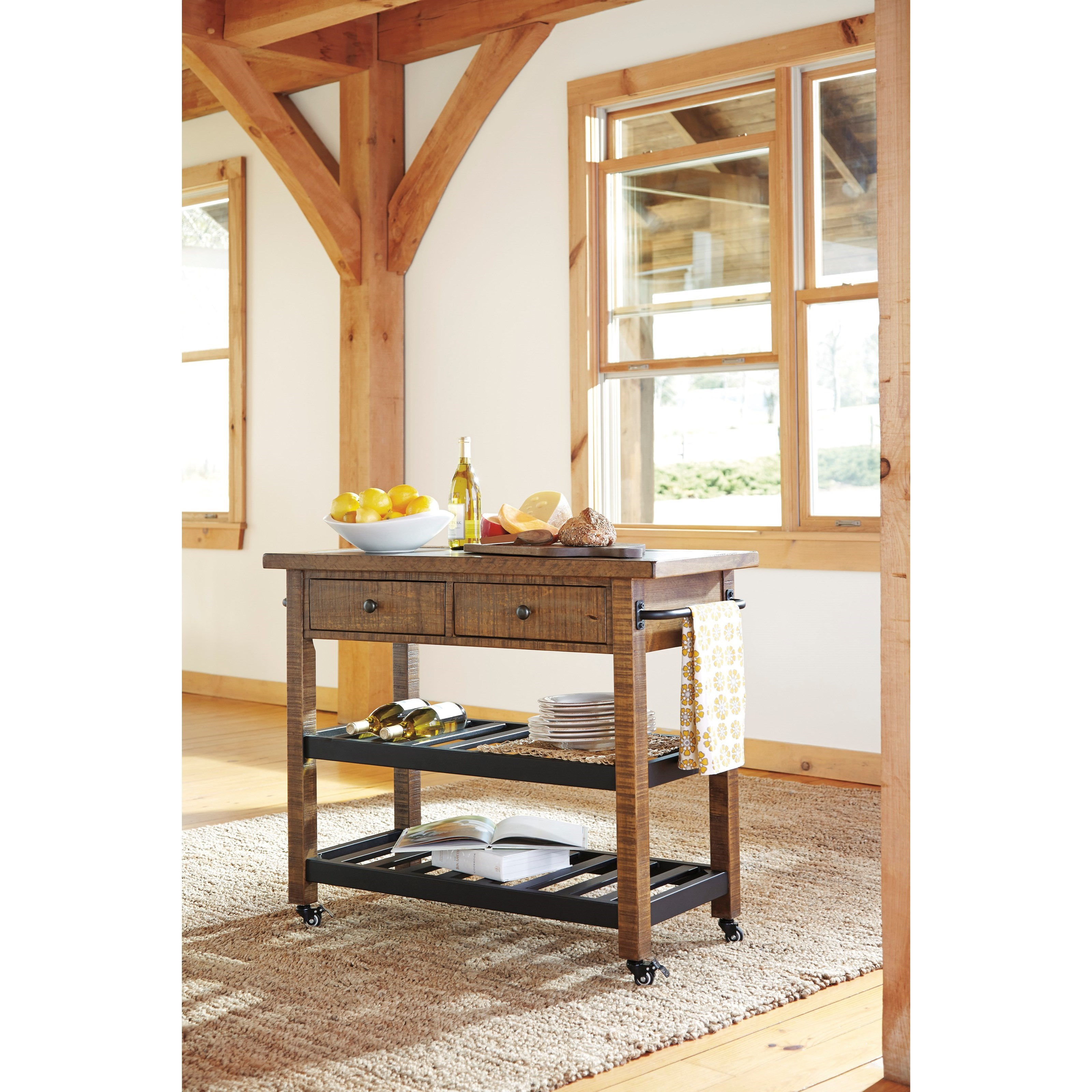 Ashley Signature Design Marlijo D300 466 Pine Kitchen Cart